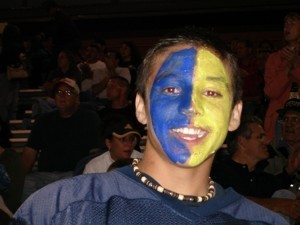 Highland student with painted face